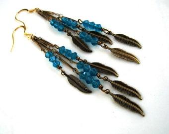 Long Brass and Teal Crystal Dangle Earrings Long Teal Earrings