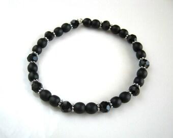 Crystal and Black Stretch Bracelet Black Stacking Bracelet Beaded Bracelet