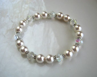 Crystal and White Pearl Stretch Bracelet Swarovski White Pearl Wedding Bracelet Pearl Bridal Bracelet