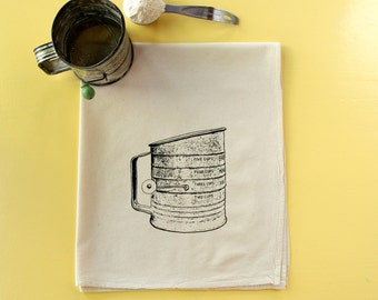 Antique Sifter Flour Sack Towel - Deluxe Natural Tea Towel - Hand Screen Printed - Perfect Hostess Gift