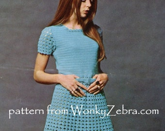 Crochet Dress Pattern Vintage PDF 096 Dolly Dress 8005 from WonkyZebra