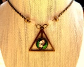 "Bronze triangle necklace painting ""Badu"" by TarraLu"
