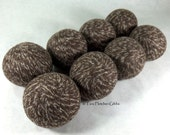 Wool Dryer Balls - Brown Tweed - Set of 8 Eco Friendly - Can be Scented or Unscented