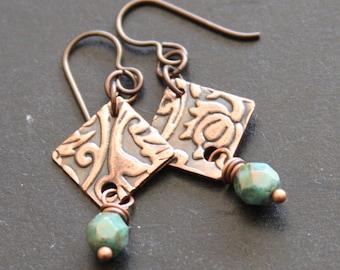 Clearance Embossed Copper Dangle Earrings, Artisan Copper Earrings. Metalwork Earrings