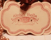 Christmas Tags (Doubled Layered) - Sleigh Bells Ring (A4) - Handmade Vintage Inspired Christmas Gift Tags - Set of 8