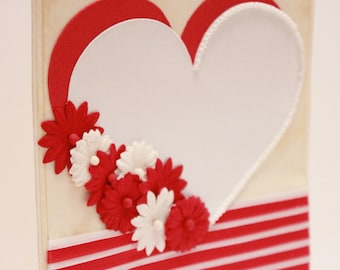 Valentine's Day Card - My One and Only - Handmade Valentine's Day Greeting Card (White & Red)