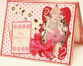 Valentine's Day Card - Happy Valentine's Day - Cupid - Handmade Vintage Inspired Valentine's Day Greeting Card