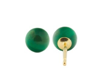 4mm Green Malachite Ball Stud Post Earrings, Solid 14K White or Yellow Gold, Malachite Bridal Stud Earrings, Green Ball Stud Earrings