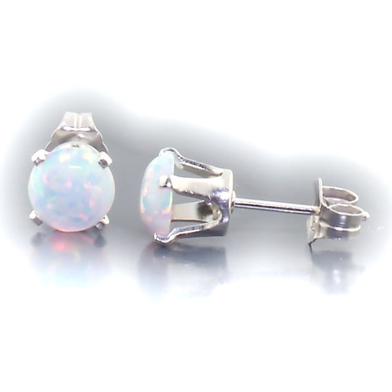 Lorraine: 6mm Australian Fiery White Opal Cabochon Crown Set Stud Post Earrings, Solid 925 Sterling Silver, White Opal Cab Earrings
