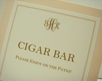 Wedding Table Sign Tented Design with Monogram for Candy Bar, Cigar Bar, Coffee Bar, Whiskey Bar, Cereal Bar, Reserved Seating and GuestBook