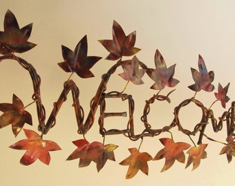 """Copper and Brass Metal Sculpture Ivy Letters """"Welcome"""" Wall Sculpture"""