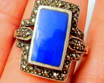 SALE, Sz 10, Vintage Sterling Silver, Blue Chalcedony Ring, Antique Jewelry, Marcasite Ring, Gemstone Ring, Antique Ring, Estate Jewellry,