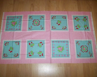 A Gorgeous  Oh Cherry Squares Cotton Fabric Panel By Moda Free US Shipping