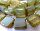 NEW COLOR  15 Czech Glass Square Beads in Translucent Cloudy Green Opal with Picasso Edges Size 10.5mm Square