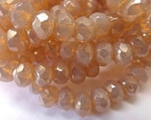 NEW COLOR  30 Dusty Light Pink Opal Fire Polish Roundel Glass Beads with Luster finish 4x5mm Size