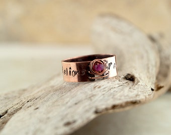 Stamped corset ring, birthstone ring, inspirational, personalized