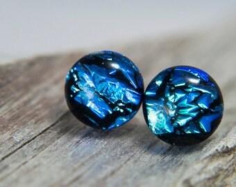 Dichroic post earrings, silver post, silver stud earrings, sterling jewelry,  10-12mm