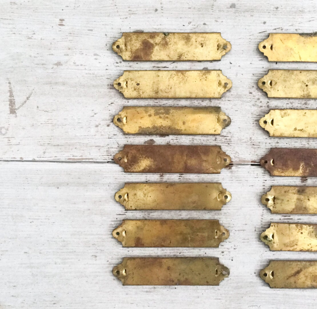 Rustic Vintage Brass Drawer Labels Brass Name Plates Drawer