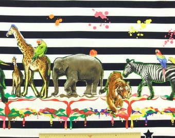 Laminated Cotton WaterproofCandy  Party Animal   fabric  -  Japanese Kawaii  Lion, elephant, zebra 50cm