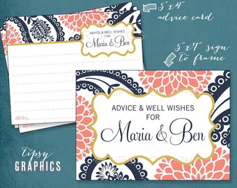 Paisley and Mums. Navy Gold Coral. Pretty Advice & Well Wish Cards. Printable Cards, Any Colors by Tipsy Graphics