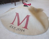 personalized burlap Christmas tree skirt