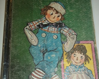 RAGGEDY ANDY Stories, 1960 printing Johnny Gruelle rag doll, hardback book, Bobbs Merrill illustrations