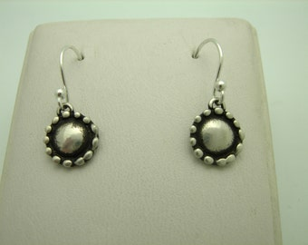 Sterling Silver Oxidized Disc and Granulated Style Dainty Earrings