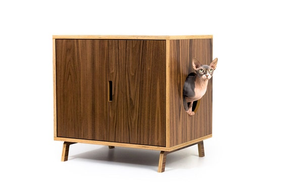 "Mid Century Modern Cat Litter Box Furniture | LARGE Cat Litter Box Cover | Dog & Cat House | Walnut Side Table | ""Standard Cabinet"""