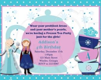Ice Princess Tea Party Invitation Birthday-Digital File