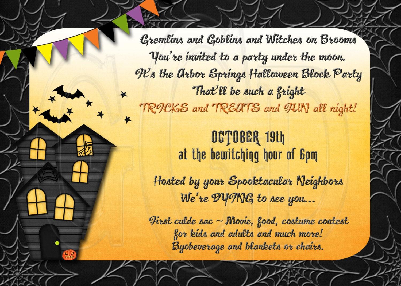 halloween block party invitation