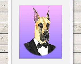 Great Dane Art - Great Dane Groom - Dog Portrait Painting - Wedding Dog Art, dog home decor, dog gift