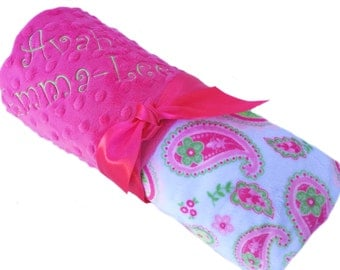 Paisley Print Minky Baby Blanket with Hot Pink Minky Back Personalization Included over 35 fonts to choose fro