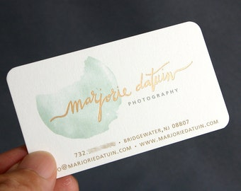 200 Business Cards - metallic foil stamped - 16 pt heavy silky matte - custom printed
