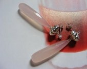 Blush Pink Chalcedony Post Earrings.  Free matching pendent!