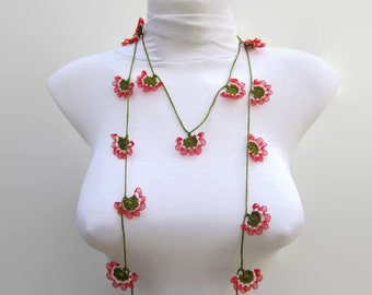 Beaded Crochet Necklace,Crochet necklace,Crochet bead work,oya