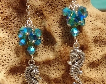 Seahorse Earrings, Beach Earrings, Sterling Emerald Blue Swarovski Crystal