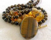 Tiger Eye, Jade Beads, Glass Citrine, DIY Jewelry Kits, Craft Supplies, Necklace Kit, Bead Crafts, Jewelry Making Beads, Bead Kit, Gemstone