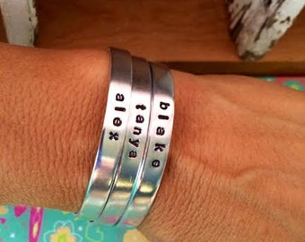 Sale-Single Name or Word Skinny Cuff Bracelet
