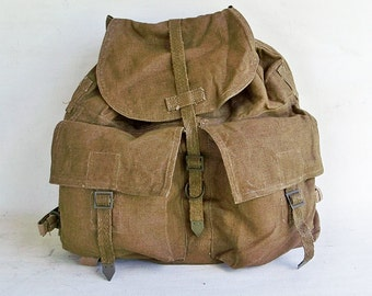 """Vintage Army Surplus Backpack- Rucksack - Canvas and Leather  """"Nicely Broken-in"""""""