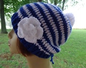 Slightly Slouchy Beanie Hat Crocheted in Royal Blue and White  with Pompom and Detachable Flower