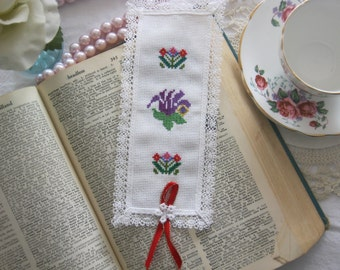 Victorian Lace Pretty Flowers Cross Stitch Book Mark-Free Shipping