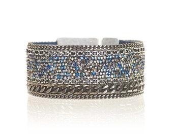 Swarovski crystal fine rocks cuff - statement cuff - statement jewelry - sparkling cuff - gunmetal curbchain bracelet - holidays gift