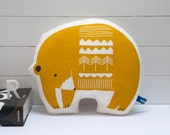 Hand Screen Printed Bear Pillow in Mustard Yellow