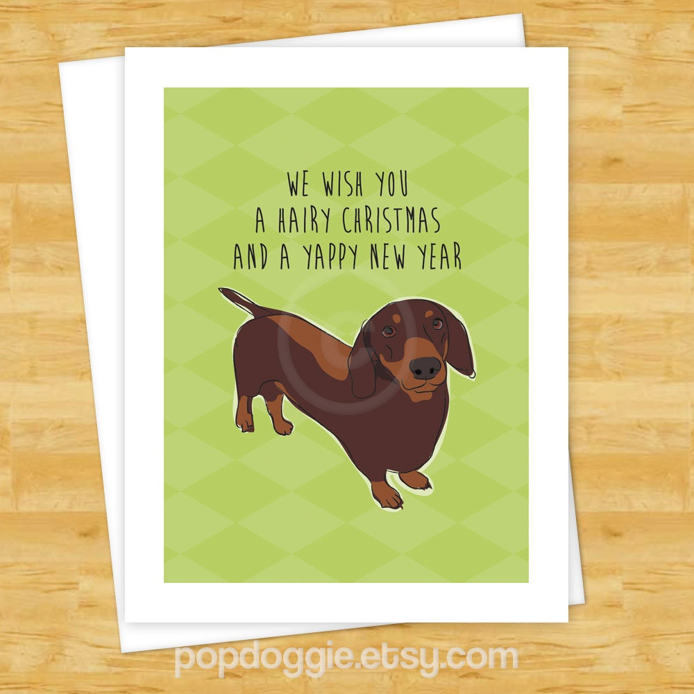 Dog Christmas Cards Chocolate Dachshund Wishes You a Hairy