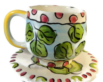 Falling Leaves Tea Cup and Saucer