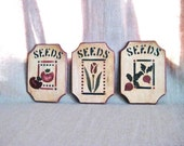 Vintage Painted Seed Packet Wall Plaques / Set of 3 Wood Wall Plaques