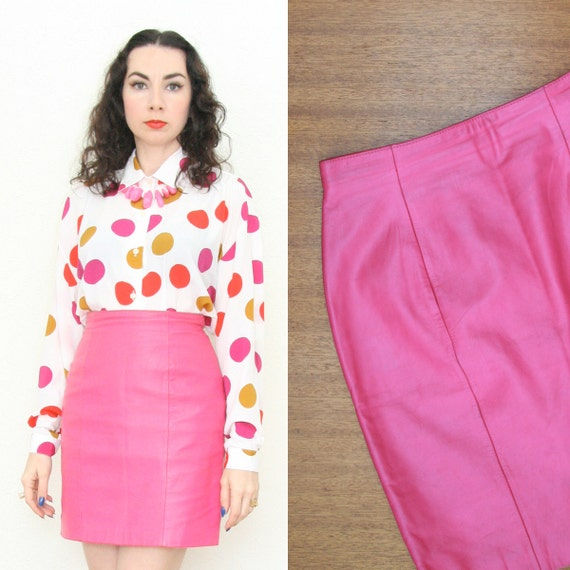 Vintage 80s 90s Pink Leather Mini Skirt Extra Small
