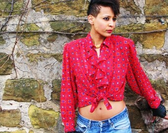 Vintage 1980s RED Print Secrtary Blouse with RUFFLES