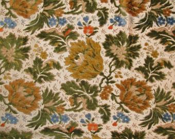 Vintage 1960s FLORAL Brocade Fabric Pieces Textured TEXTILE Remnant Brocade