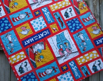 Dr Seuss Baby or Toddler Quilt with The Cat in the Hat